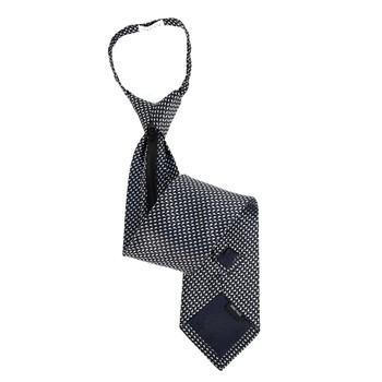 Men's Black Dots Zipper Tie - MPWZ-BLK1