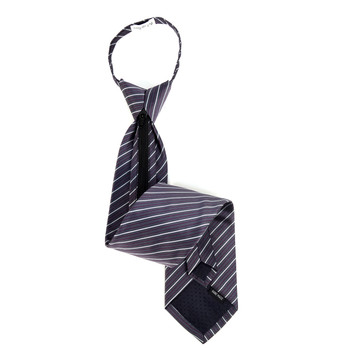Men's Charcoal Striped Zipper Tie - MPWZ-BLK2