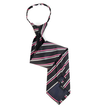 Men's Black & Pink Striped Zipper Tie - MPWZ-BLK3
