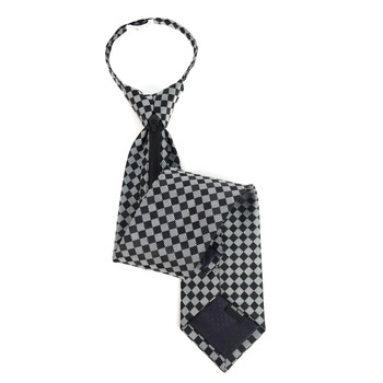 Men's Black Plaid Zipper Tie - MPWZ-BLK4