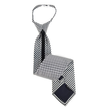 Men's Black Checkered Zipper Tie - MPWZ-BLK5