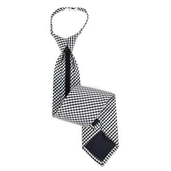 Men's Black Checkered Zipper Tie - MPWZ-BLK5