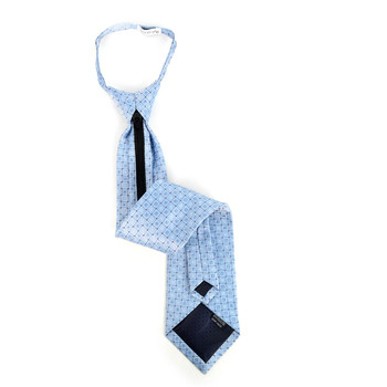 Men's Blue Geometric Zipper Tie - MPWZ-BL1
