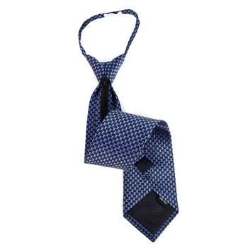 Men's Navy Geometric Zipper Tie - MPWZ-BL2