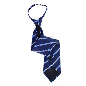 Men's Navy Striped Zipper Tie - MPWZ-BL3