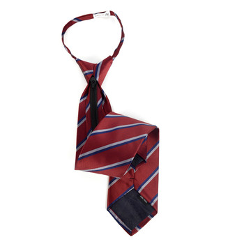 Men's Burgundy Striped Zipper Tie - MPWZ-RD2