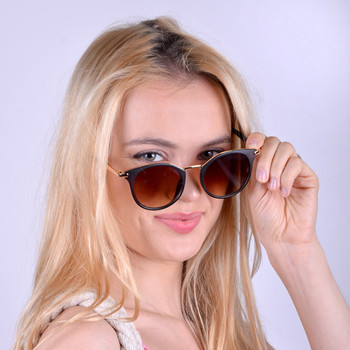 Dark Brown Round Women Sunglasses - LSG1011