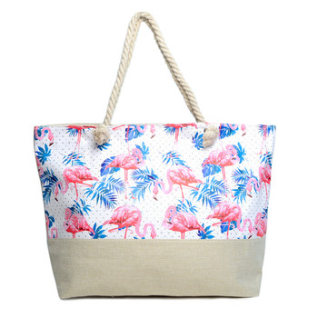 Summer Flamingo & Palm Leaves Rhinestone Ladies Tote Bag - LTBG1208