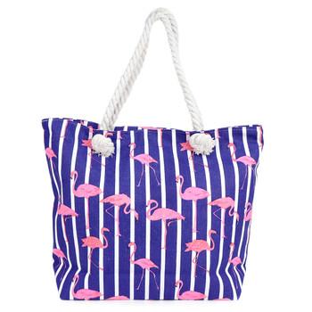 Striped Flamingo Summer Ladies Tote Bag -LTBG1233
