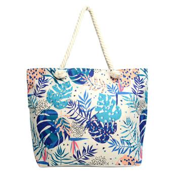 Blue Tropical Leaves Ladies Tote Bag -LTBG1238