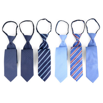 6PC Microfiber Classic Blue Zipper Pre-Tied Neckties - MPWZ-BL#1