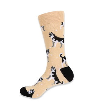 Men's Novelty Siberian Husky Dog Socks - NVS19431-BEI