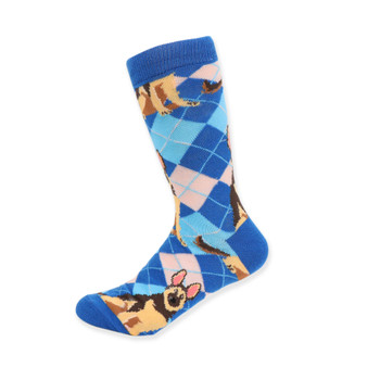 Women's Novelty Argyle Dog Socks