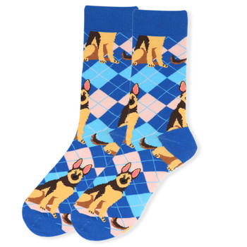 Women's Novelty Argyle Dog Socks - LNVS19409-BL