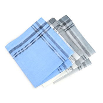 12 Pack Men's White, Blue & Gray Handkerchiefs - PH003-1-12