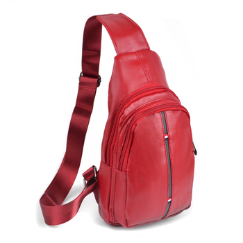 Red Crossbody  Leather Sling Bag Backpack with Adjustable Strap - FBG1824-RD