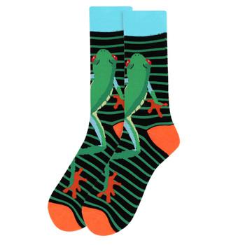 Men's Frog Striped Pattern Novelty Socks - NVS19504-BK