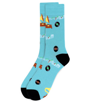 Men's Record Player Novelty Socks - NVS19524-NVY