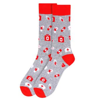 Men's Nursing Novelty Socks - NVS19526-GRY