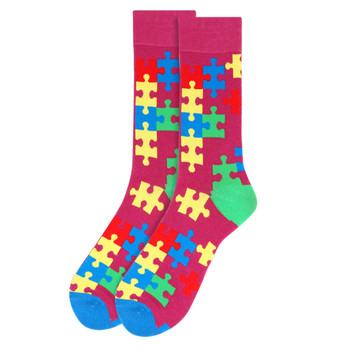 Men's Autism Awareness Novelty Socks - NVS19531-PUR