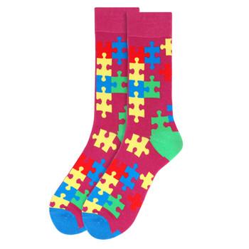 Men's Autism Awareness Novelty Socks - NVS19531-PUR