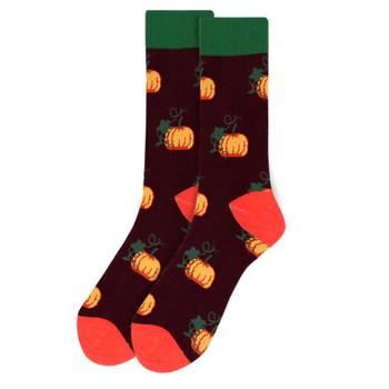 Men's Pumpkin Novelty Socks - NVS19536-PUR