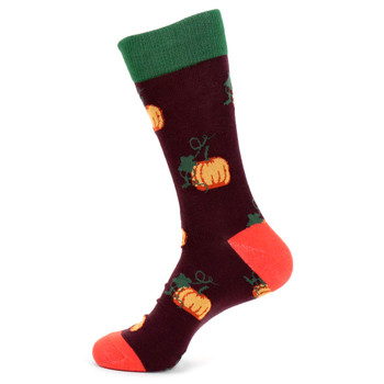 Men's Pumpkin Novelty Socks - NVS19536-PUR