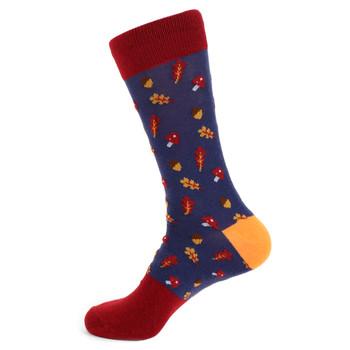 Men's Acorn Fall Leaves Novelty Socks - NVS19537-BURG