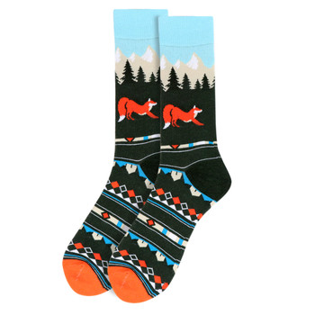 Men's Fox  Novelty Socks - NVS19540-GRN