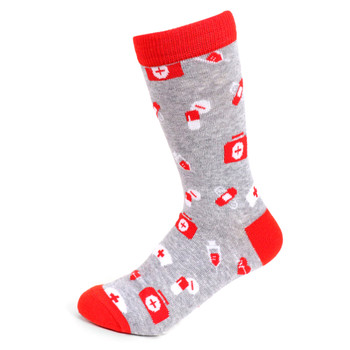 Women's Nursing Novelty Socks - LNVS19526-GRY