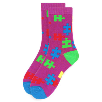 Women's Autism Awareness Novelty Socks - LNVS19531-PUR
