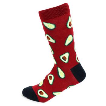 Women's Avocado Novelty Socks - LNVS19542-BURG