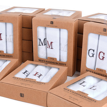 24pc Assorted Pack Men's Boxed Embroidered Initial Alphabet Cotton Handkerchiefs- Set IH24 (IH24
