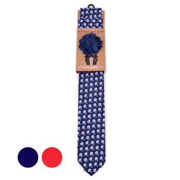 Men's Petite Flowers Cotton Skinny Tie w/ Hanky and Flower Lapel Pin - CTHL1708