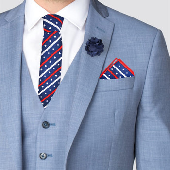 Men's Patriotic Stars and Hearts Cotton Skinny Tie w/ Hanky and Flower Lapel Pin - CTHL1703-NV