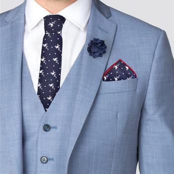 Men's Flamingo Print Cotton Skinny Tie w/ Hanky and Flower Lapel Pin - CTHL1702