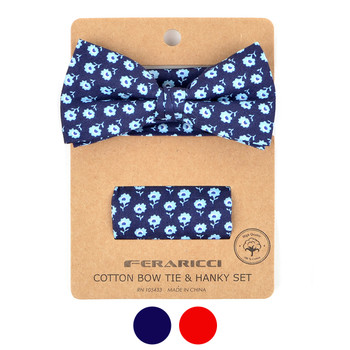 Men's Petite Flowers Cotton Bow Tie & Hanky Set - CTBH1739