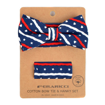 Men's Patriotic Hearts & Stars Cotton Bow Tie & Hanky Set - CTBH1735-NV