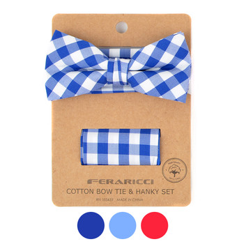 Men's Checkered Cotton Bow Tie & Hanky Set - CTBH1733
