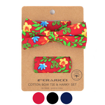 Men's Bright Floral Cotton Bow Tie & Hanky Set - CTBH1738