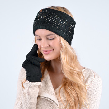 Women's Studded Fleece Lined Knit Winter Head Band - WHB5006