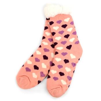 Women's Plush Sherpa Winter Fleece Lining Pink Hearts Slipper Socks - LPS1009