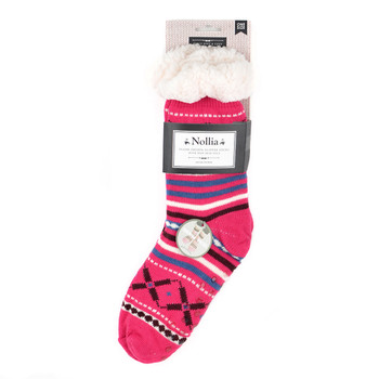 Women's Plush Sherpa Winter Fleece Lining Pink Slipper Socks - WFLS1007