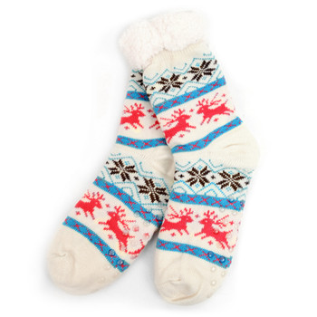 Women's Plush Sherpa Winter Fleece Lining Christmas Slipper Socks - WFLS1003