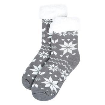 Women's Plush Sherpa Winter Fleece Lining Snowflakes Slipper Socks - WFLS1001