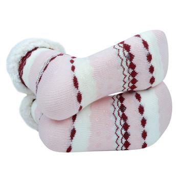 Women's Plush Sherpa Winter Fleece Lining Pink Slipper Socks - WFLS1000