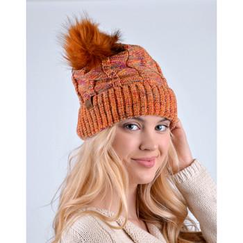 Women's Multicolored Pom Pom Knit Winter Hat - LKH5030