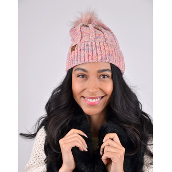 Women's Multicolored Pom Pom Knit Winter Hat - LKH5030
