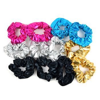 12pc Solid Shiny Metallic Scrunchie Hair Ties - 12SHS-SLD-2