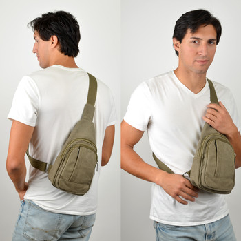 Olive Crossbody Canvas Sling Bag Backpack with Adjustable Strap - FBG1821-OV